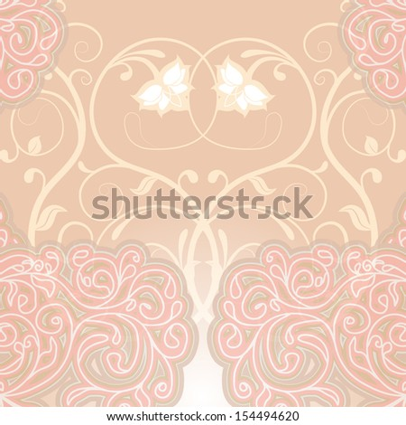 Delicate floral pink background. Can be used to design wedding invitations and greeting cards. Vector illustration. - stock vector