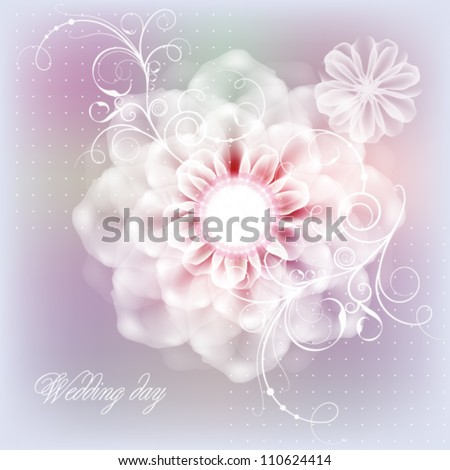 Delicate floral postcard with a wedding day - stock vector