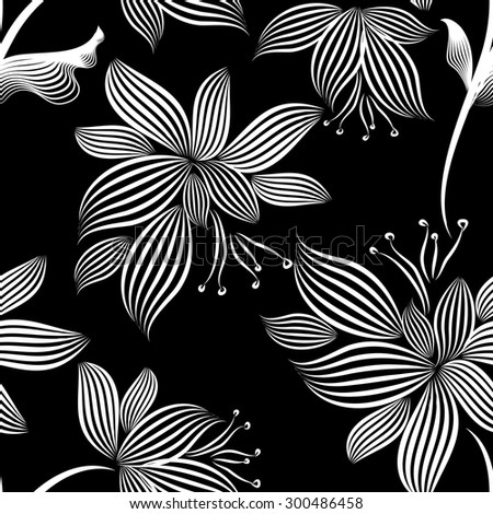 Delicate flowers seamless background of the lines. Vector - stock vector