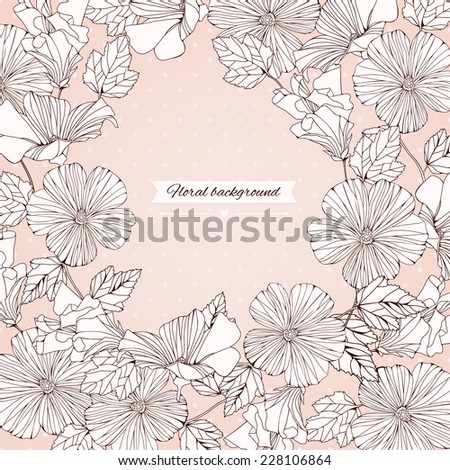 Delicate frame with decorative hibiscus flowers isolated on pastel background. Vintage design for invitation, wedding or greeting cards. Vector illustration - stock vector