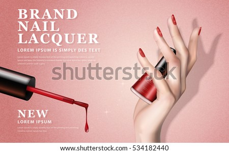 delicate hand, colorful elements and nail lacquer bottles on pink background, 3d illustration