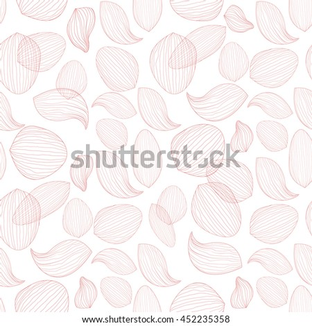 Delicate lotus flower petals on white background. Outline vector seamless pattern, eps10 floral template