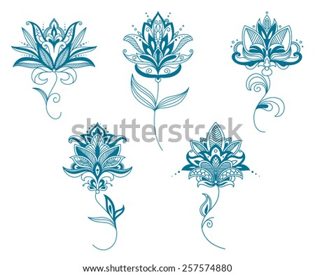 Delicate persian blue flowers in paisley style with curved pointed petals and long wavy stems for romantic design - stock vector