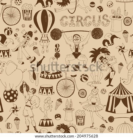 Delicate retro seamless circus background pattern for invitations and wrapping paper with scattered icons of performing animals  the Big Top  performers  equipment and the word Circus in square format - stock vector