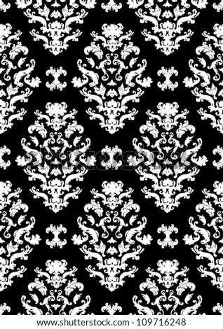 Delicate seamless damask pattern vector with white shapes on a black background.  Can be tiled horizontally and vertically. - stock vector