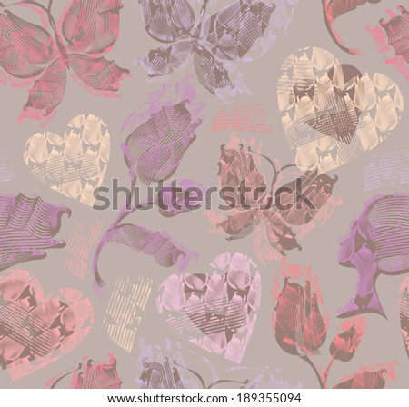 Delicate seamless pattern with butterflies, flowers and hearts. - stock vector