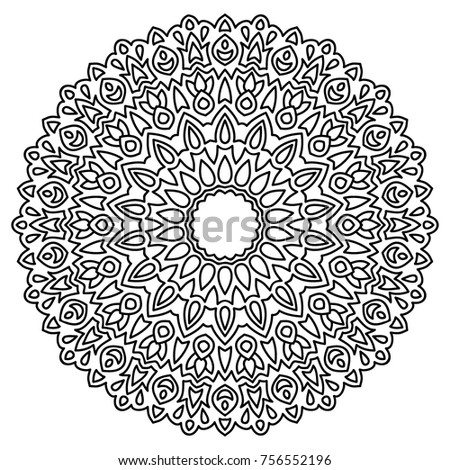 Delicate Snowflake Adult Coloring Book Page With Flourish Detailed Mandala Black And White Round