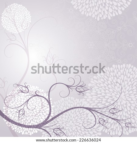 Delicate tender light purple frame with floral ornaments (vector EPS 10) - stock vector