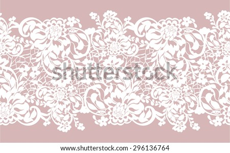 Delicate transparent seamless background with lace border - stock vector