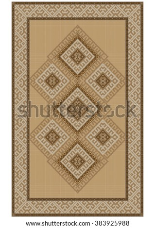 Delicate vintage luxurious ethnic rug with yellow and  brown shades  - stock vector