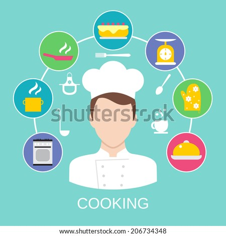 Delicatessen cooking culinary pastry chef classes advertisement with kitchen pictograms composition poster placard flat vector abstract illustration - stock vector