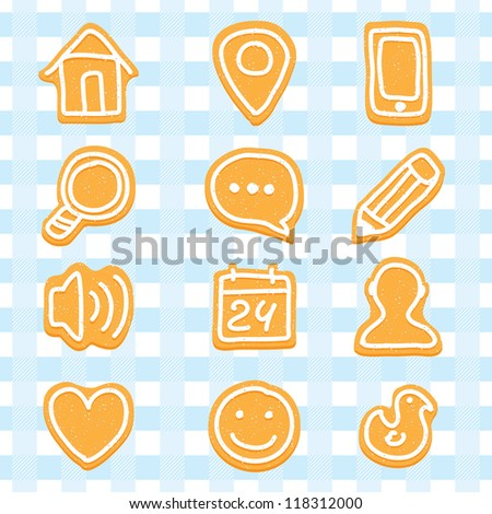 Delicious and nice cookies icons set - stock vector