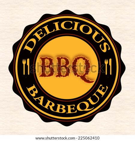 delicious barbeque grunge stamp with on vector illustration - stock vector