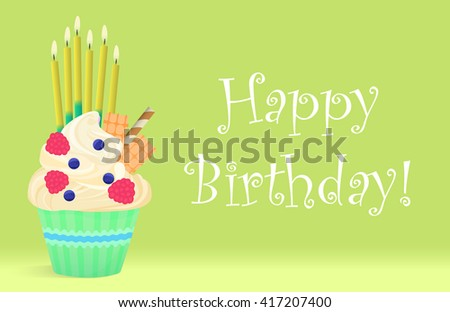 Delicious Birthday cupcake with candles on light background. Happy birthday. Birthday cupcake illustration, Birthday cupcake image, Birthday cupcake concept, Birthday cupcake card, Cupcake present - stock vector