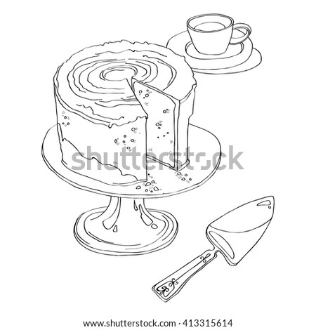 delicious cake stands on Pedestal Cake Plate with a cup of tea and spatula for a pie. black and white vector illustration isolated on white background. coloring page - stock vector
