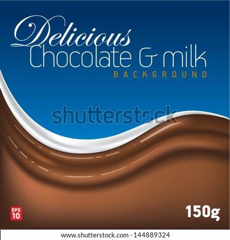 Delicious chocolate & milk background - stock vector