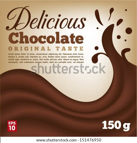 Delicious Chocolate wave with splash - stock vector