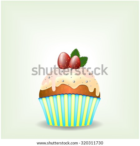 Delicious cupcake with milky chocolate cream with sweets and strawberries - eps10 vector illustration - stock vector