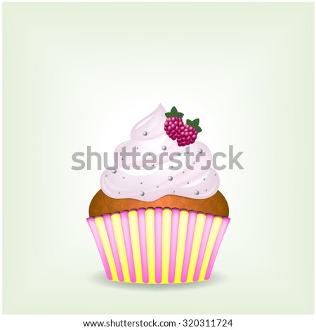 Delicious cupcake with pink air cream with sweets and raspberries - eps10 vector illustration - stock vector