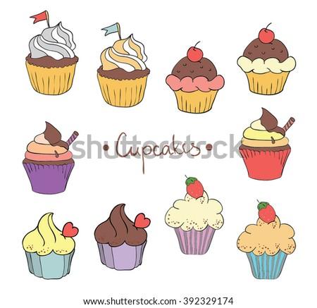 Delicious Cupcakes - stock vector