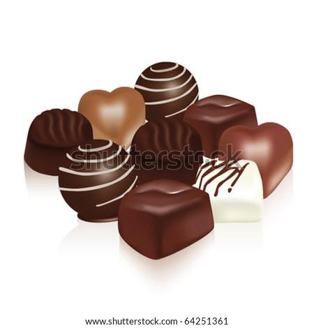Delicious dark, milk and white chocolate pieces - stock vector