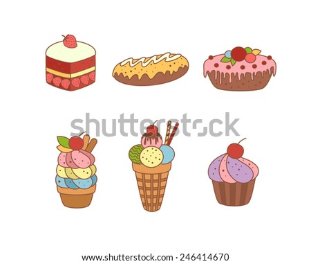 delicious delicious sweet desserts vector illustration colored
