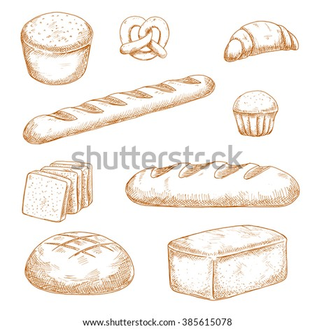 Delicious fresh baked bread, pastry and buns sketches with healthy whole grain bread, baguette, round and long loaves of wheat bread, french croissant, butter cupcake and soft pretzel  - stock vector