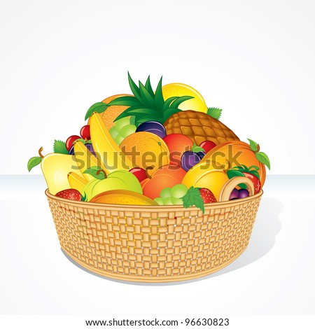 Delicious Fruit Basket. Isolated Cartoon Vector Illustration