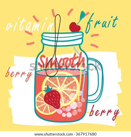 Delicious fruit smooth - Hand drawn style. Vector illustration. - stock vector