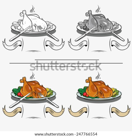 delicious Grilled chicken with vegetables on a plate - stock vector