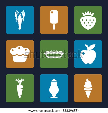 Delicious icons set. set of 9 delicious filled icons such as crab, ice cream, milkshake, apple, strawberry, carrot
