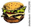 Delicious juicy burger. Sketch vector illustration - stock photo
