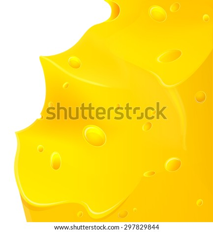 Delicious juicy piece of cheese on white background - stock vector