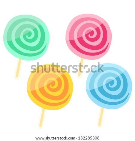 Delicious lollipop vector set - stock vector