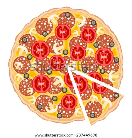 Delicious pizza isolated on white background. - stock vector