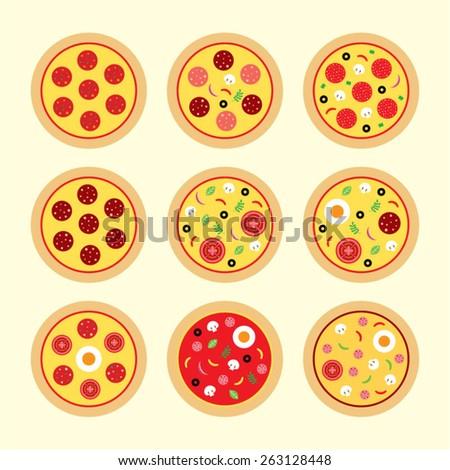 delicious pizza vector - stock vector