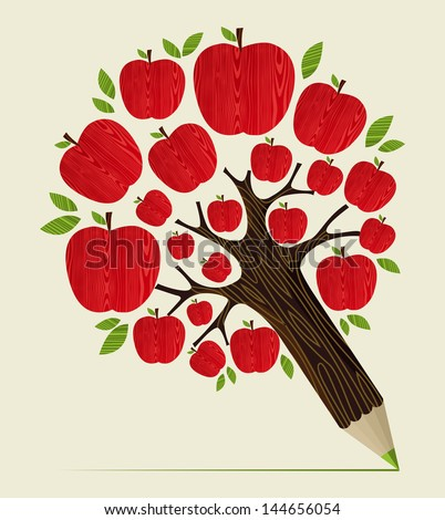 Delicious red apple icon in tree pencil idea. Vector illustration layered for easy manipulation and custom coloring. - stock vector