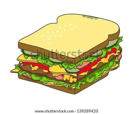 delicious sandwich isolated - stock vector