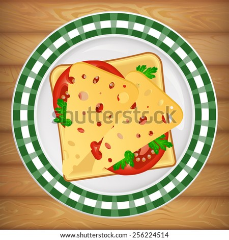 Delicious sandwich on beautiful bright plate placed on wooden table. Vector image can be used for restaurant and cafe menu design, food posters, print cards and other crafts. - stock vector
