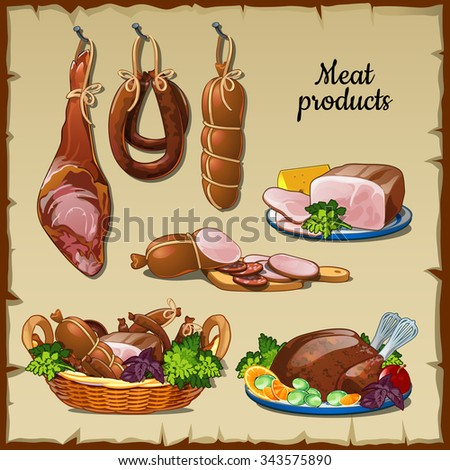 Delicious sausages, hams and and other meat products - stock vector