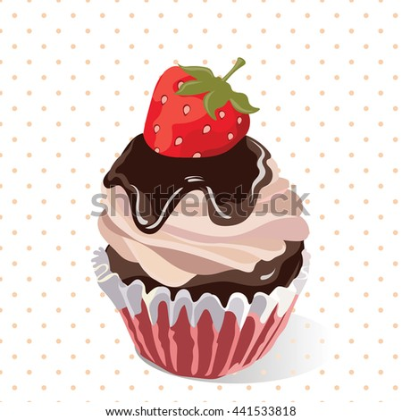 Delicious Strawberry and chocolate Cupcakes on Retro dotted pattern Vector