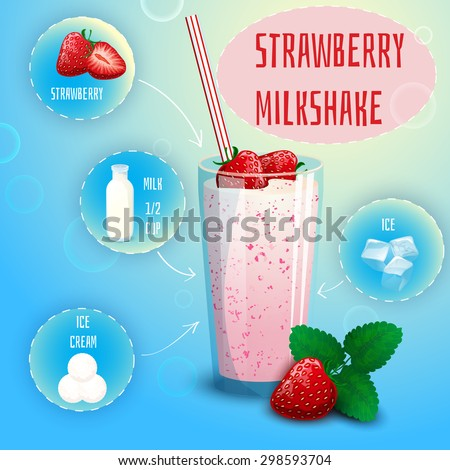 Delicious strawberry milkshake smoothie recipe graphic presentation with infographic elements decorative poster print abstract vector illustration - stock vector