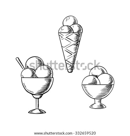 Delicious sweet ice cream cone with sugar waffle and sundae desserts with ice cream scoops in retro bowls, decorated by waffle roll. Sketch icons for dessert menu - stock vector