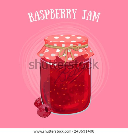 Delicious vegan jam in a jar, made of ripe juicy raspberry covered with textile cap. - stock vector