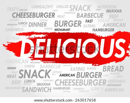 DELICIOUS word cloud, fast food concept - stock vector