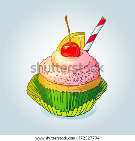 Delitious cupcake with cherry and lemon isolated on light background - stock vector