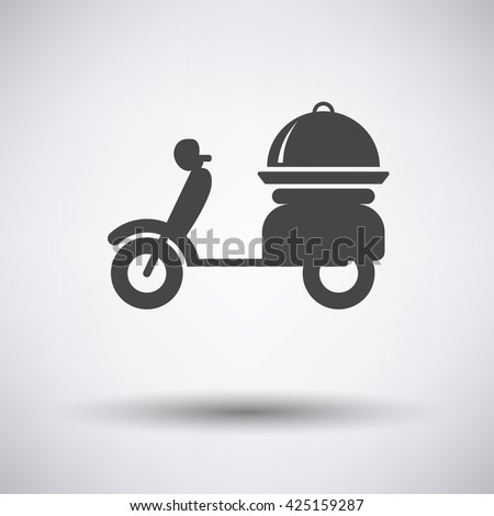 Delivering motorcycle icon on gray background with round shadow. Vector illustration.