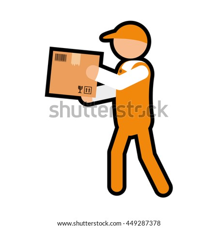 Delivery and Shipping concept represented by delivery man icon. isolated and flat illustration