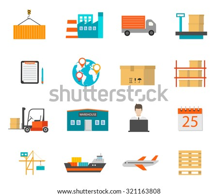 Delivery and storage icons with warehouse building, transport and other objects, vector illustration. Logistics and shipping symbols set - stock vector