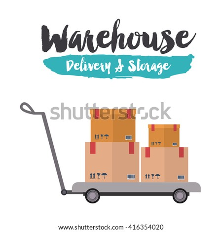 delivery and storage warehouse design  - stock vector